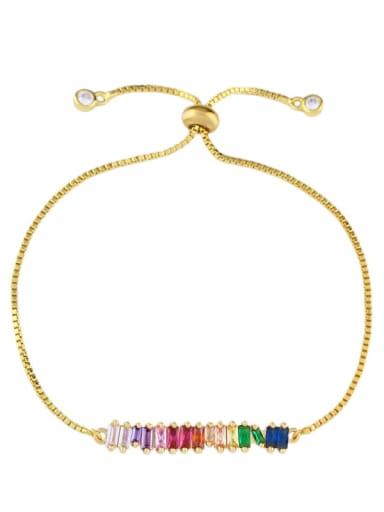 golden Alloy Cubic Zirconia Geometric Dainty Link Bracelet