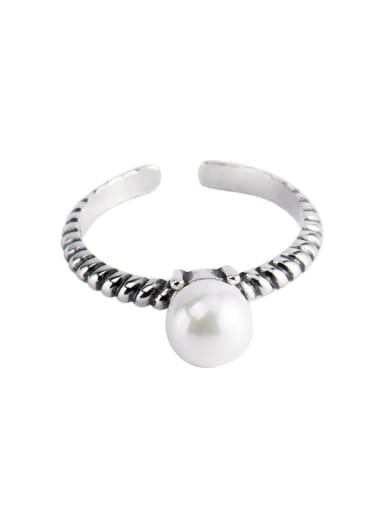 925 Sterling Silver Imitation Pearl Round Vintage Band Ring