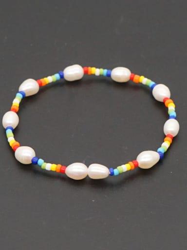ZZ B200005C Freshwater Pearl Multi Color Round Bohemia Stretch Bracelet