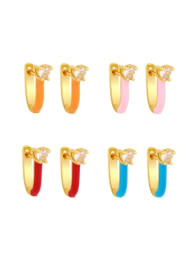 Brass Multi Color Enamel Heart Vintage Huggie Earring