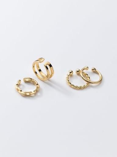 925 Sterling Silver  Minimalist Double hollow twist Clip Earring
