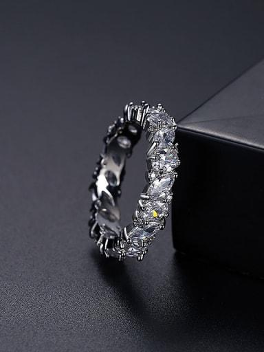 Platinum t17b22 Brass Cubic Zirconia Geometric Dainty Band Ring