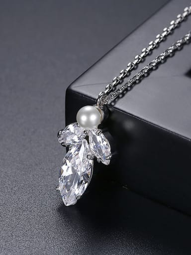 Platinum t10e25 Copper Cubic Zirconia Water Drop Dainty Necklace