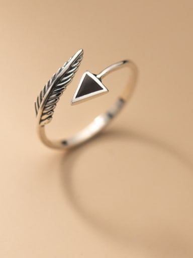 925 Sterling Silver Acrylic Geometric Vintage Band Ring