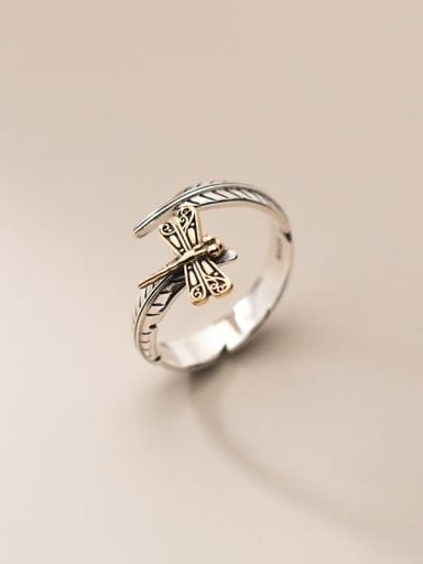 925 Sterling Silver Dragonfly Vintage Band Ring