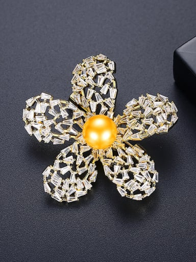 Yellow t15b15 Brass Cubic Zirconia Flower Vintage Brooch