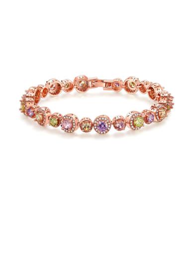Brass Cubic Zirconia Round Luxury Bracelet