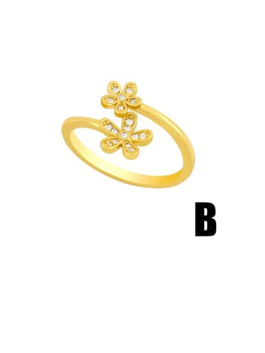 B Brass Cubic Zirconia Heart Hip Hop Band Ring