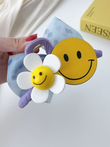 Purple smiling face 11cm Alloy Resin Trend Cute Smiley  Flower Jaw Hair Claw