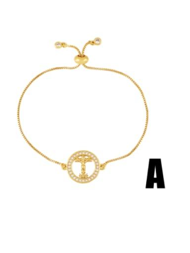 Brass Cubic Zirconia Religious Vintage Link Bracelet
