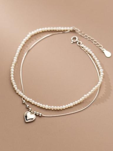 925 Sterling Silver Freshwater Pearl Geometric Minimalist Strand Bracelet