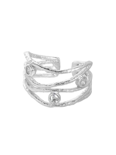 Silver [size 13 adjustable] 925 Sterling Silver Cubic Zirconia Irregular Vintage Stackable Ring