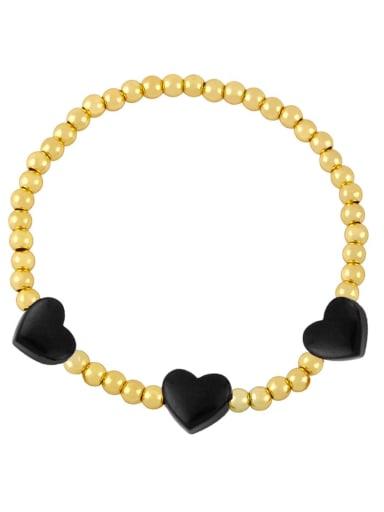 black Brass Enamel Heart Trend Beaded Bracelet