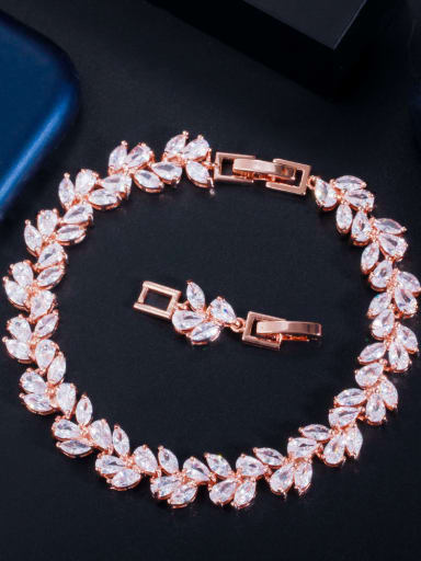 rose gold Brass Cubic Zirconia Leaf Luxury Bracelet