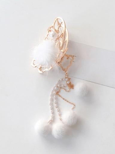 Gold 8cm Alloy  Hair Ball Hair Accessories Butterfly hairpin White fur ball tassel grabbing clip Jaw Hair Claw