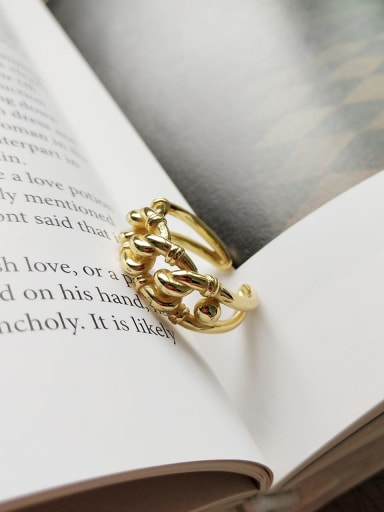 925 Sterling Silver Golden Industrial Wind Ring
