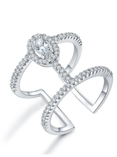 Copper Cubic Zirconia Geometric Dainty Free Size Band Ring