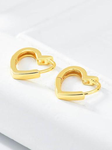 18K gold 925 Sterling Silver Heart Minimalist Huggie Earring