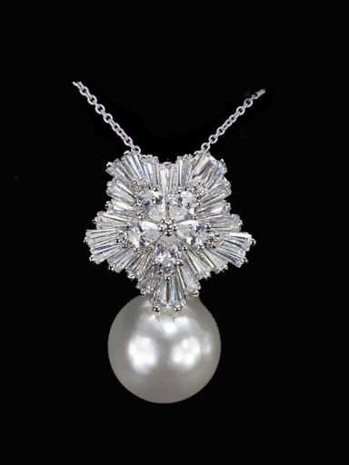 White Pearl Brass Cubic Zirconia Flower Dainty Necklace