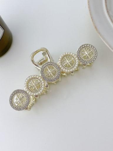 Five Round Pearl Rhinestone 9cm Alloy Imitation Pearl Trend Geometric  Jaw Hair Claw