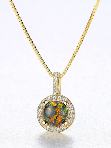 Green 20F08 925 Sterling Silver Opal Simple round pendant Necklace