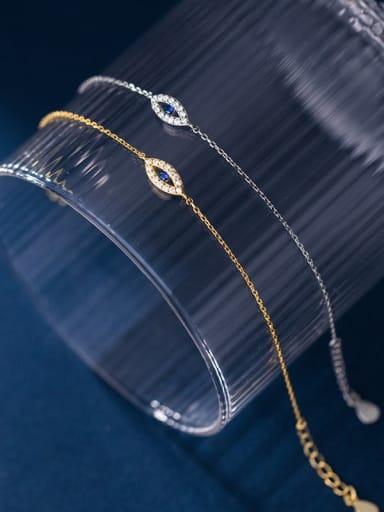925 Sterling Silver Cubic Zirconia Evil Eye Minimalist Link Bracelet