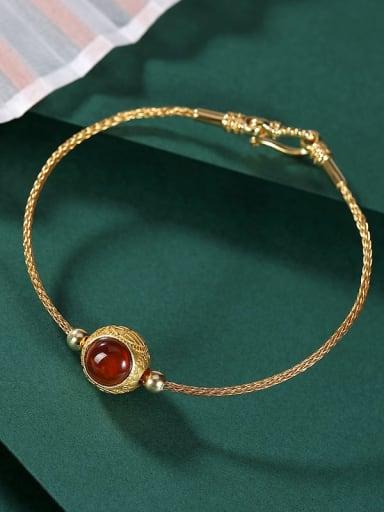 Bracelet 925 Sterling Silver Garnet Round Vintage Bracelet