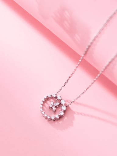 Silver 925 Sterling Silver Cubic Zirconia Round Minimalist Necklace