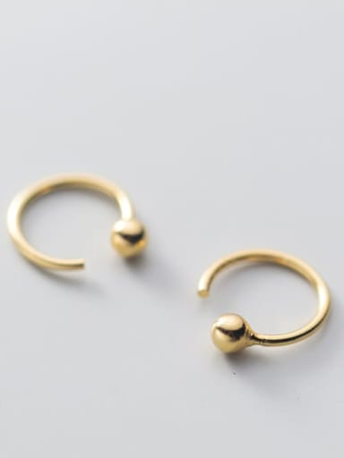 pearl ear hook gold large 11mm 925 Sterling Silver Smooth Geometric Minimalist Stud Earring