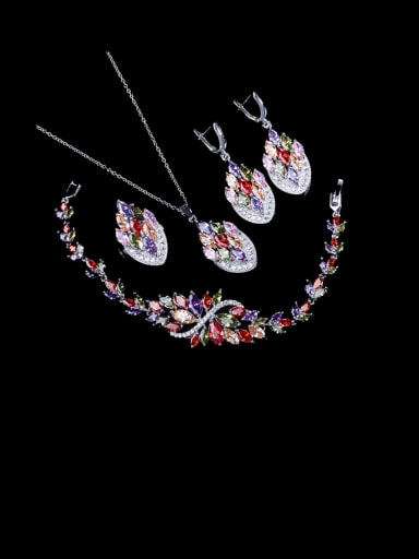 Four piece ring size 6 Brass Cubic Zirconia Luxury Leaf   Ring Earring Braclete And Necklace Set