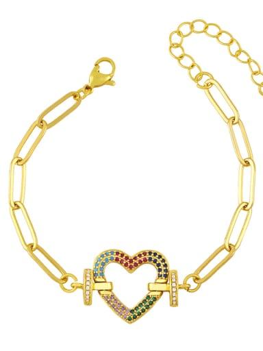 C Brass Cubic Zirconia  Hollow Star Vintage Link Bracelet