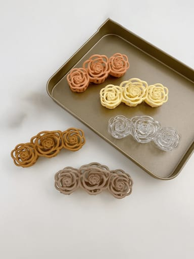 Alloy Resin Trend Hollow Flower  Jaw Hair Claw