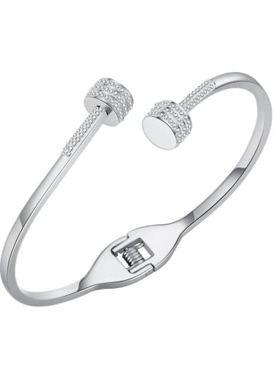 999 Steel Bracelet Titanium Steel Rhinestone Geometric Minimalist Cuff Bangle