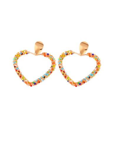 Peach heart Alloy Imitation Pearl Heart Ethnic Drop Earring