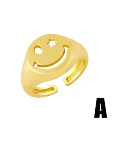 Brass Smiley Hip Hop Band Ring