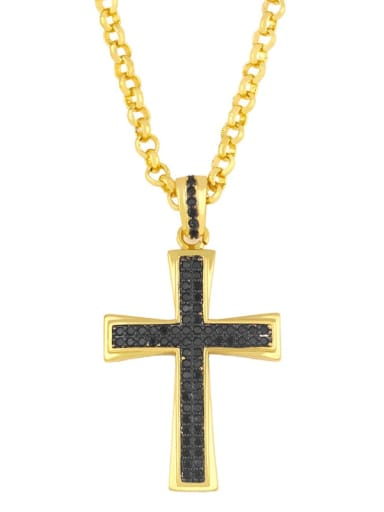 gold+black  pendant Copper Cubic Zirconia Cross Vintage Regligious  pendant