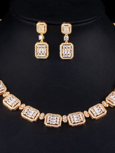 Gold Brass Cubic Zirconia Luxury Geometric Earring and Necklace Set