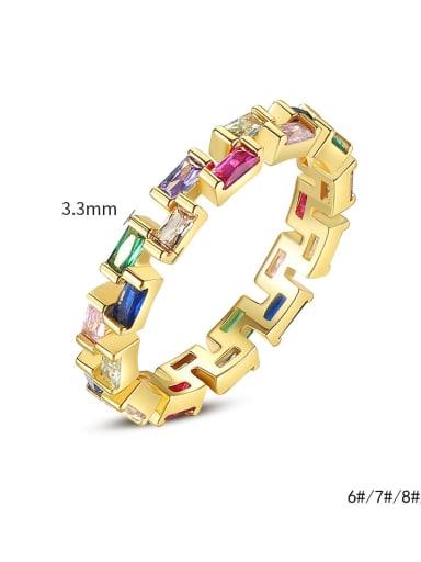 Brass Cubic Zirconia Geometric Dainty Band Ring