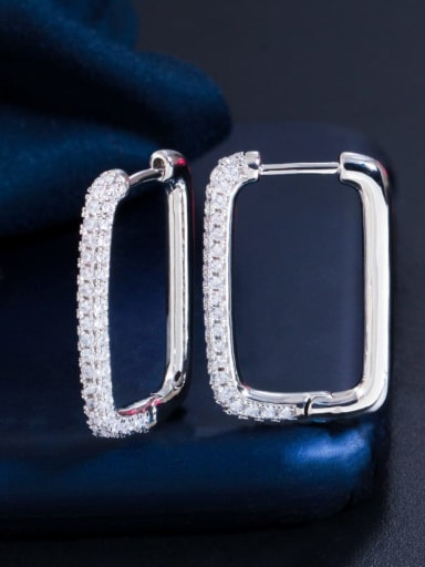 Platinum white zirconium Brass Cubic Zirconia Geometric Luxury Huggie Earring