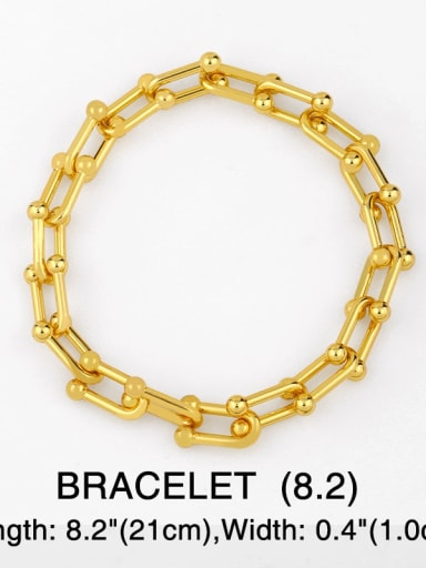 Bracelet 21cm Brass Hollow Geometric Vintage chain Necklace