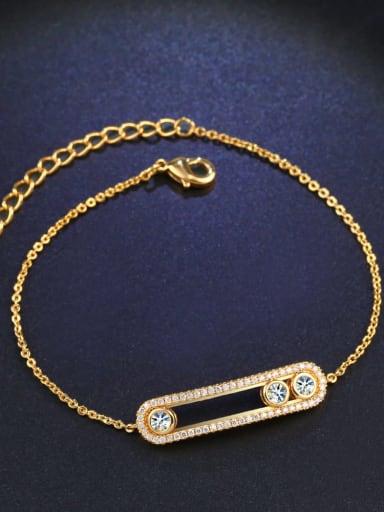 golden Alloy Cubic Zirconia Geometric Vintage Link Bracelet