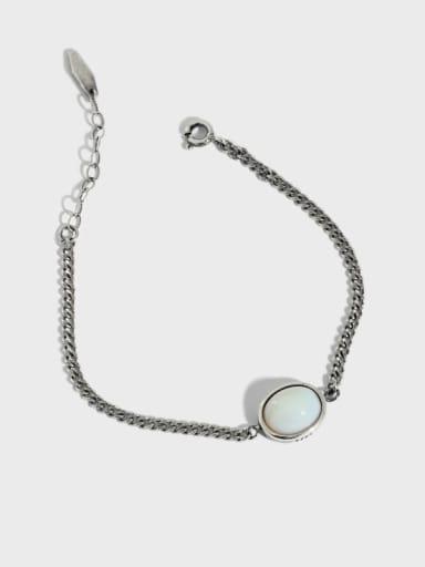 925 Sterling Silver Cats Eye Geometric Vintage Link Bracelet