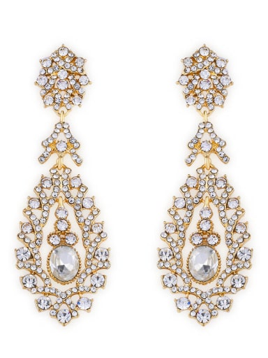 golden Alloy Cubic Zirconia Water Drop Vintage Drop Earring
