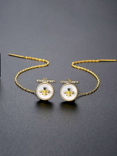 E19102314 K Brass Cubic Zirconia Tassel Minimalist Threader Earring