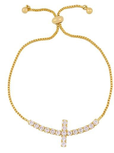 brc30 C Alloy Cubic Zirconia Cross Vintage Link Bracelet