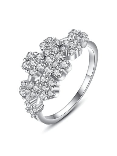 Copper Cubic Zirconia Flower Luxury Band Ring