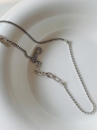 925 Sterling Silver Irregular Vintage Beaded Necklace