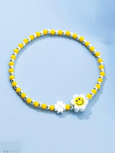 925 Sterling Silver Enamel Flower Minimalist Beaded Bracelet