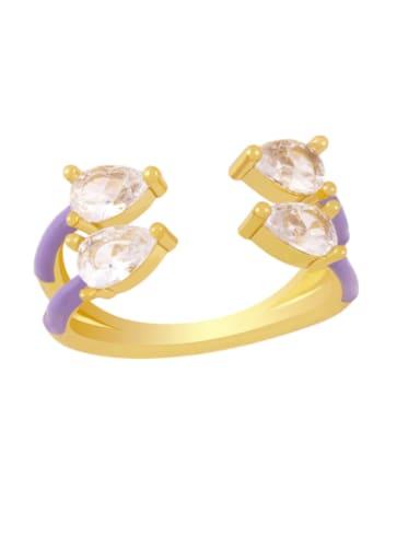 purple Brass Enamel Water Drop Trend Stackable Ring