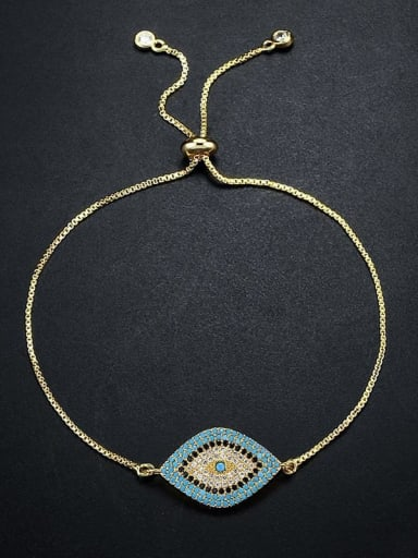 golden Brass Cubic Zirconia Evil Eye Bohemia Link Bracelet